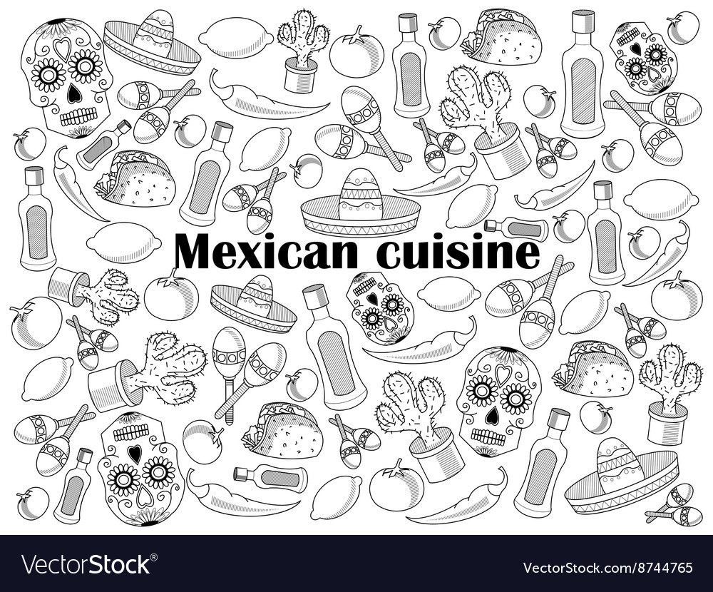 Mexican cuisine colorless set vector