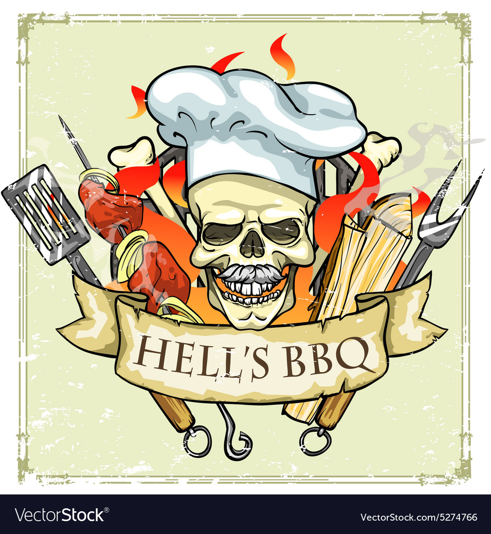 Bbq grill label design  hells bbq vector