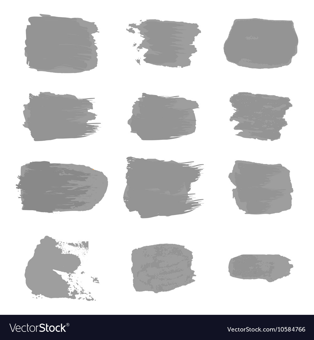 Brush stroke gray paint abstract white background vector