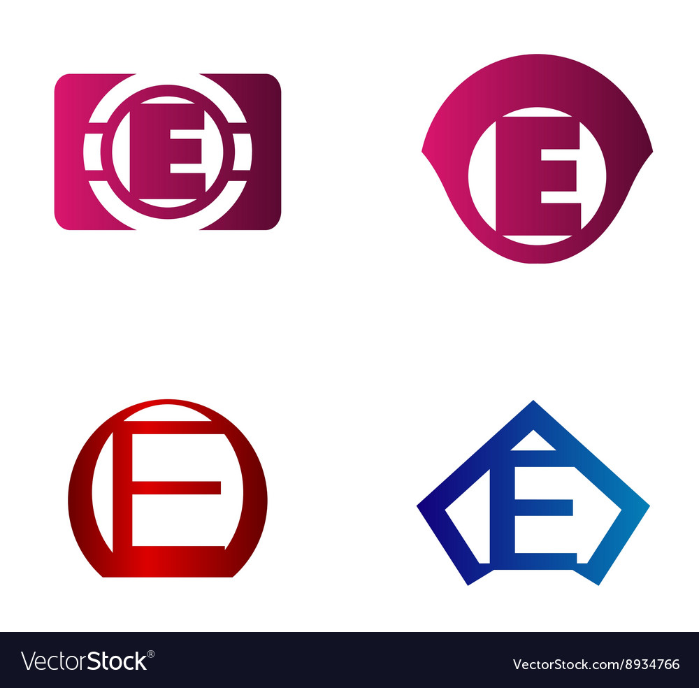 Letter e logo template abstract icon vector