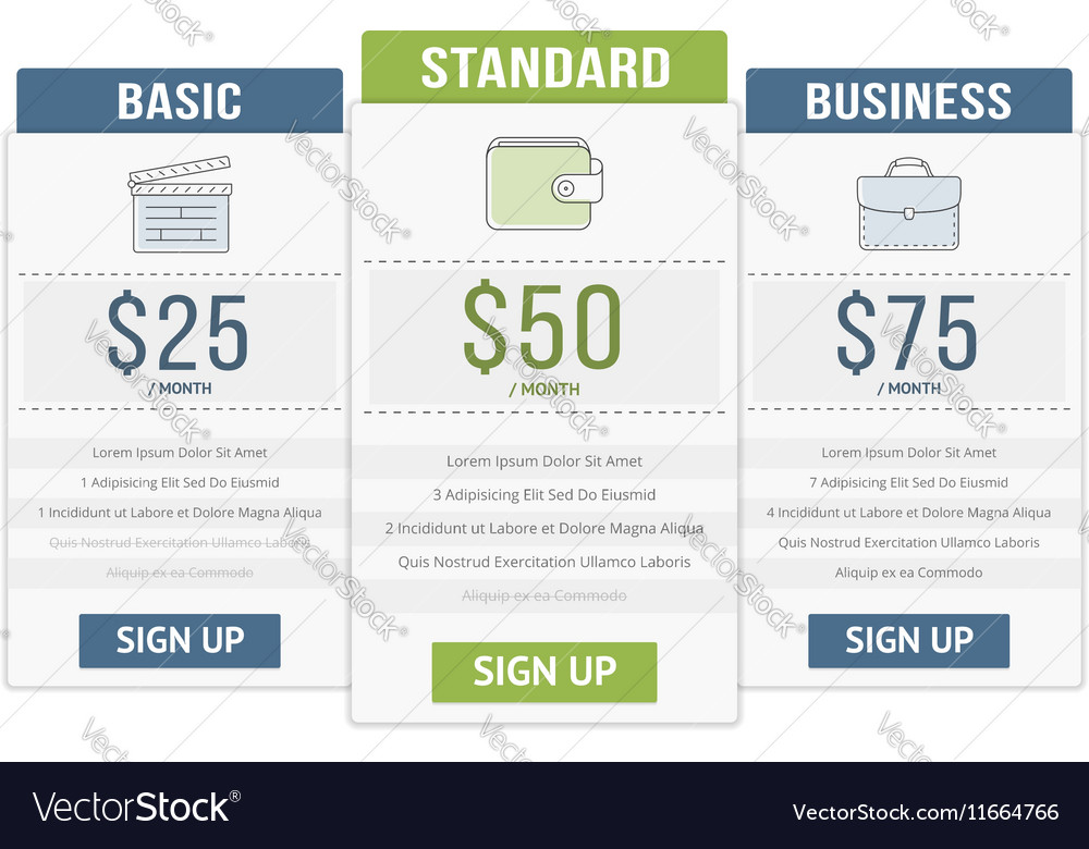 Pricing table vector