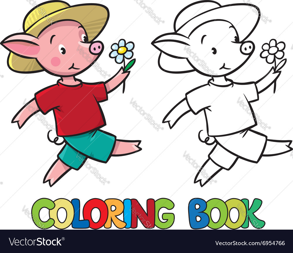Walking little piglet coloring book vector