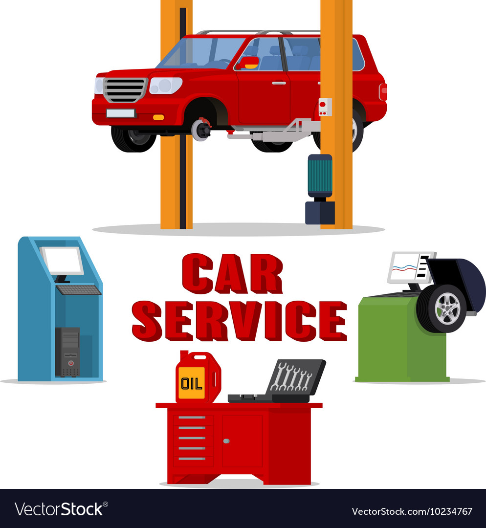 Concept car services  vehicle repair and vector