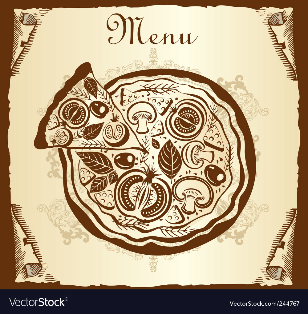 Menu pizza vector