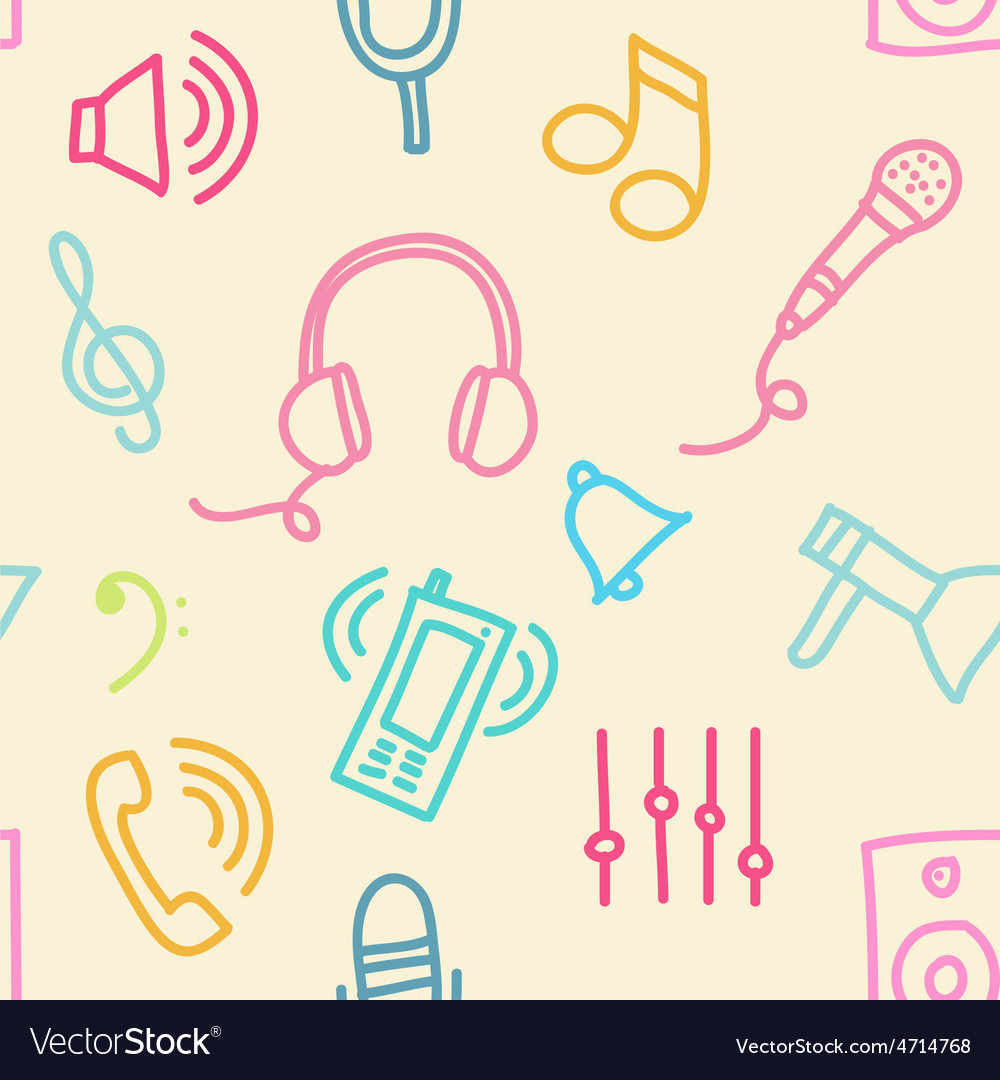 Sound seamless pattern vector
