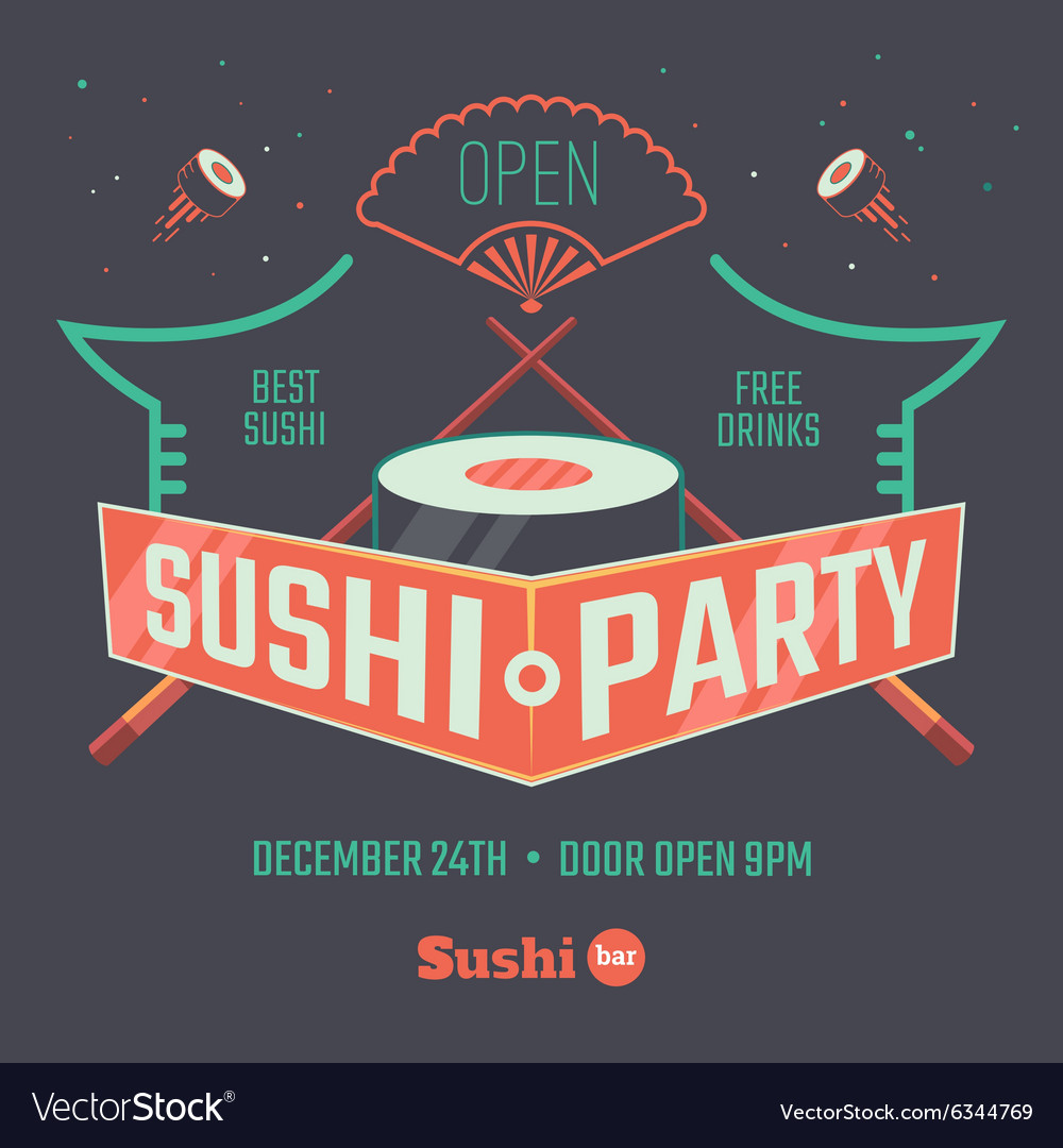Sushi patry poster vector