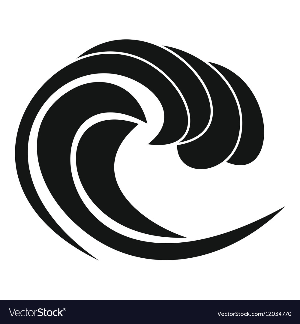 Wave of sea tide icon simple style vector