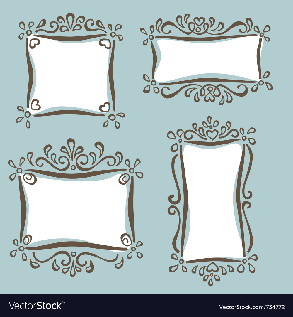 Cute girly frames vector
