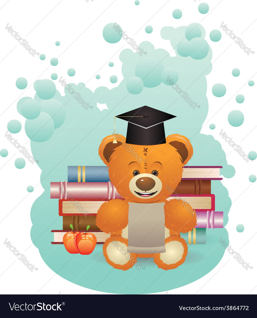 School teddy bear2 vector