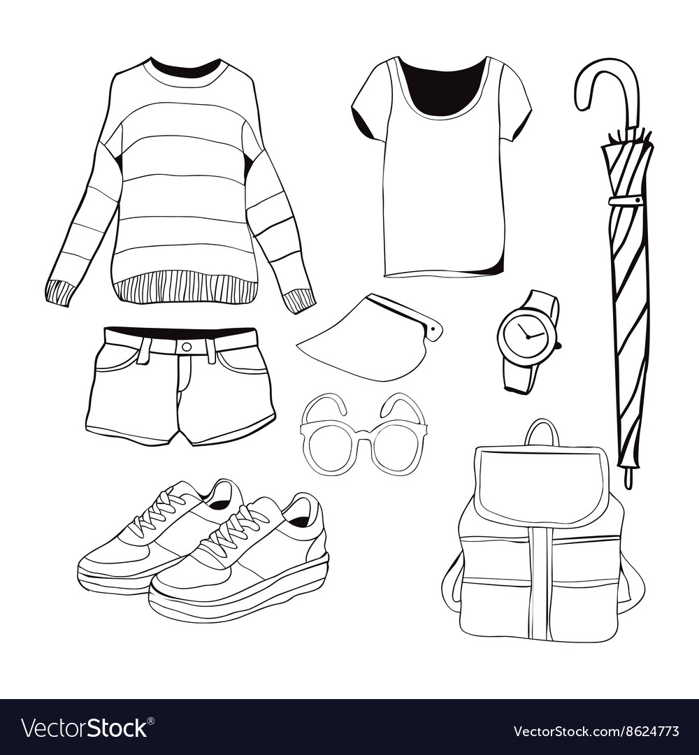 A set of summer outfit collection vector