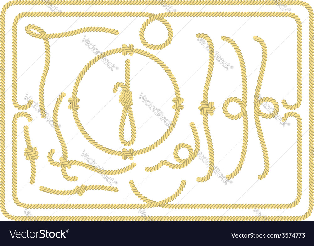 Collection of rope design elements vector