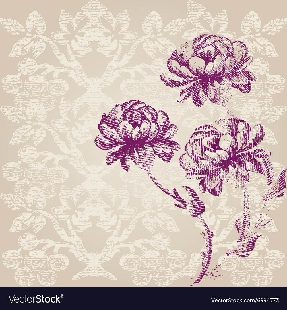 Hand drawn border vertical bouquet flowers peony vector