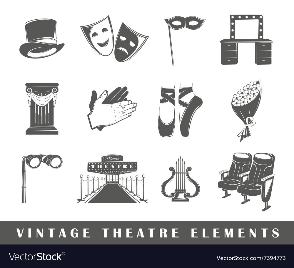 Set of elements of the theater vector