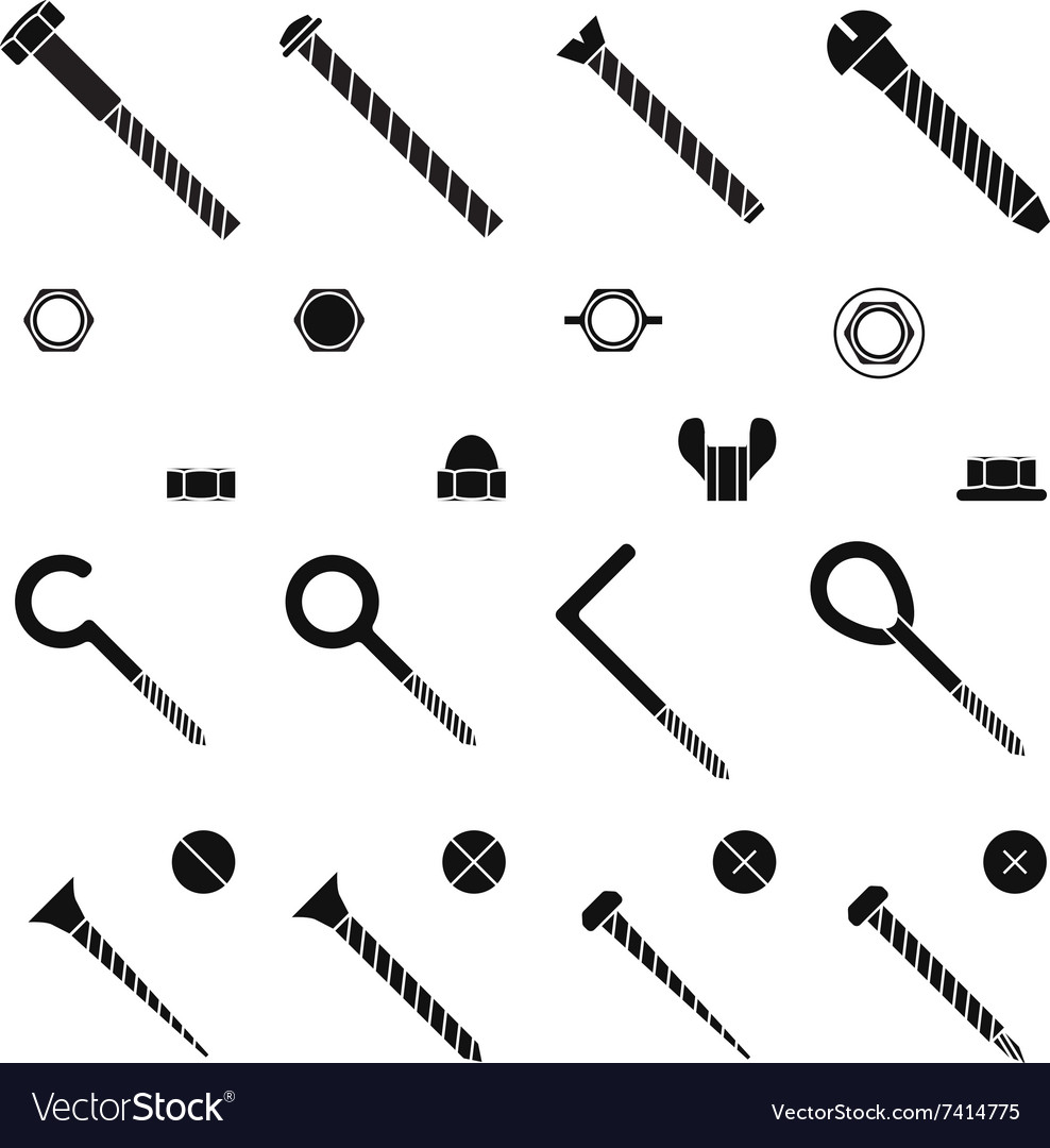 Screws nuts and rivets icons set vector