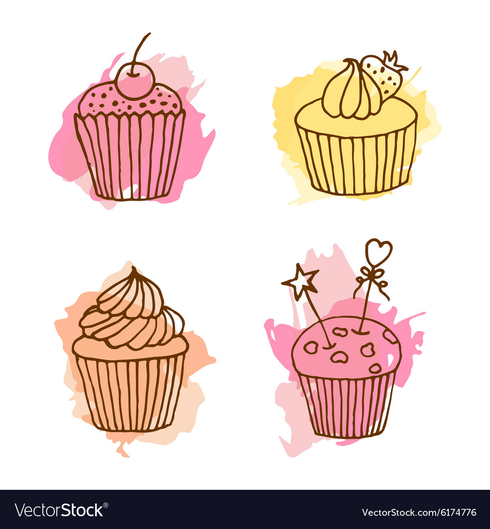 Cupcake set of 4 hand drawn vector