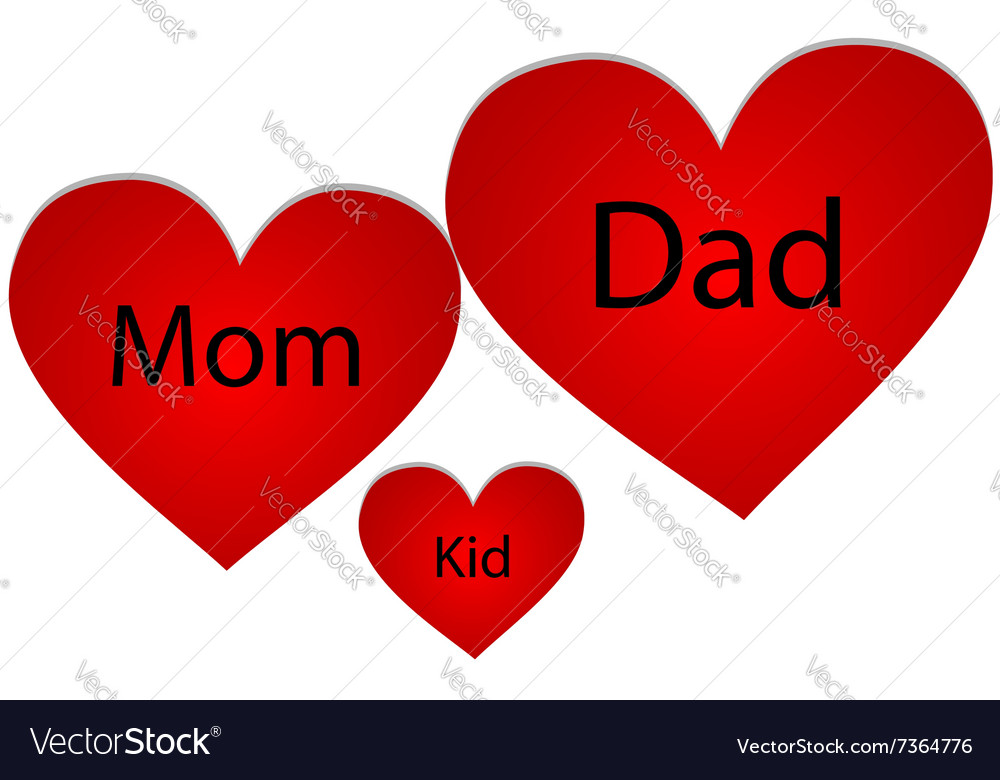 Family of three hearts vector