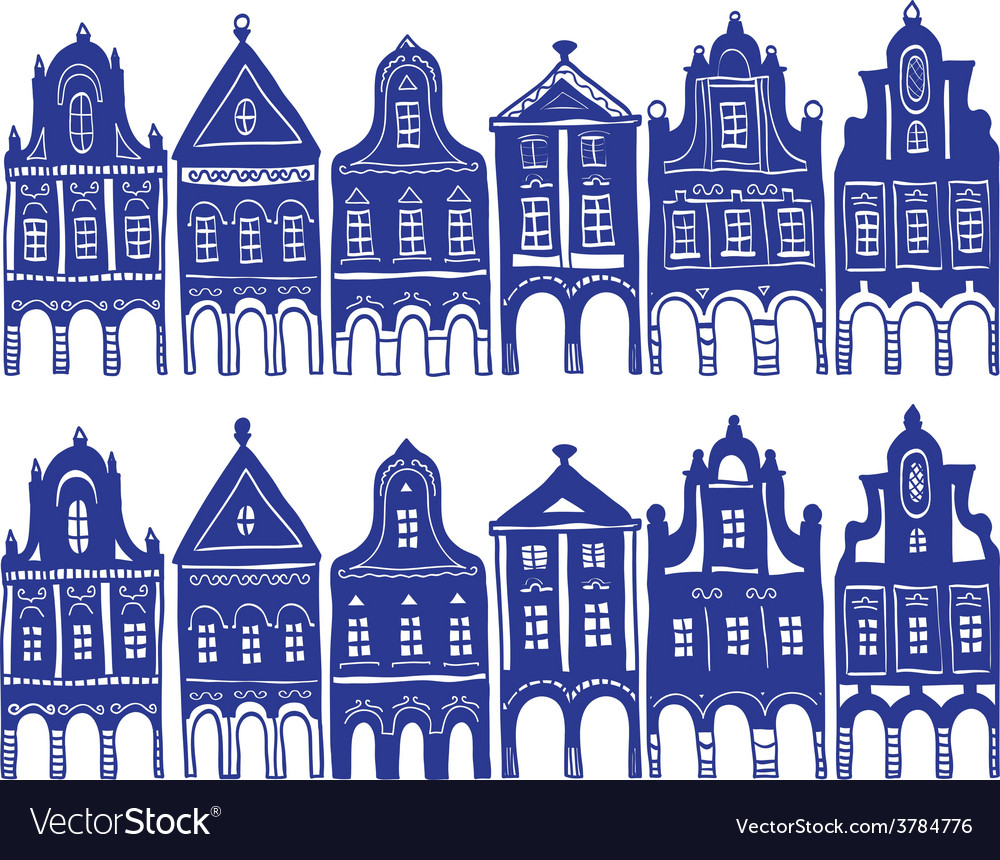 Old decorated village houses vector