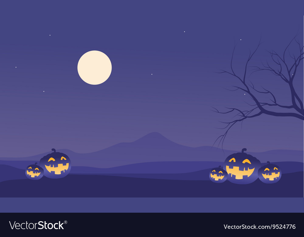 Scenery halloween pumpkins and moon vector