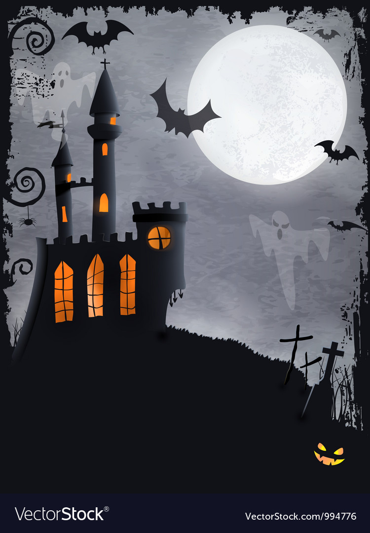 Spooky halloween castle background vector