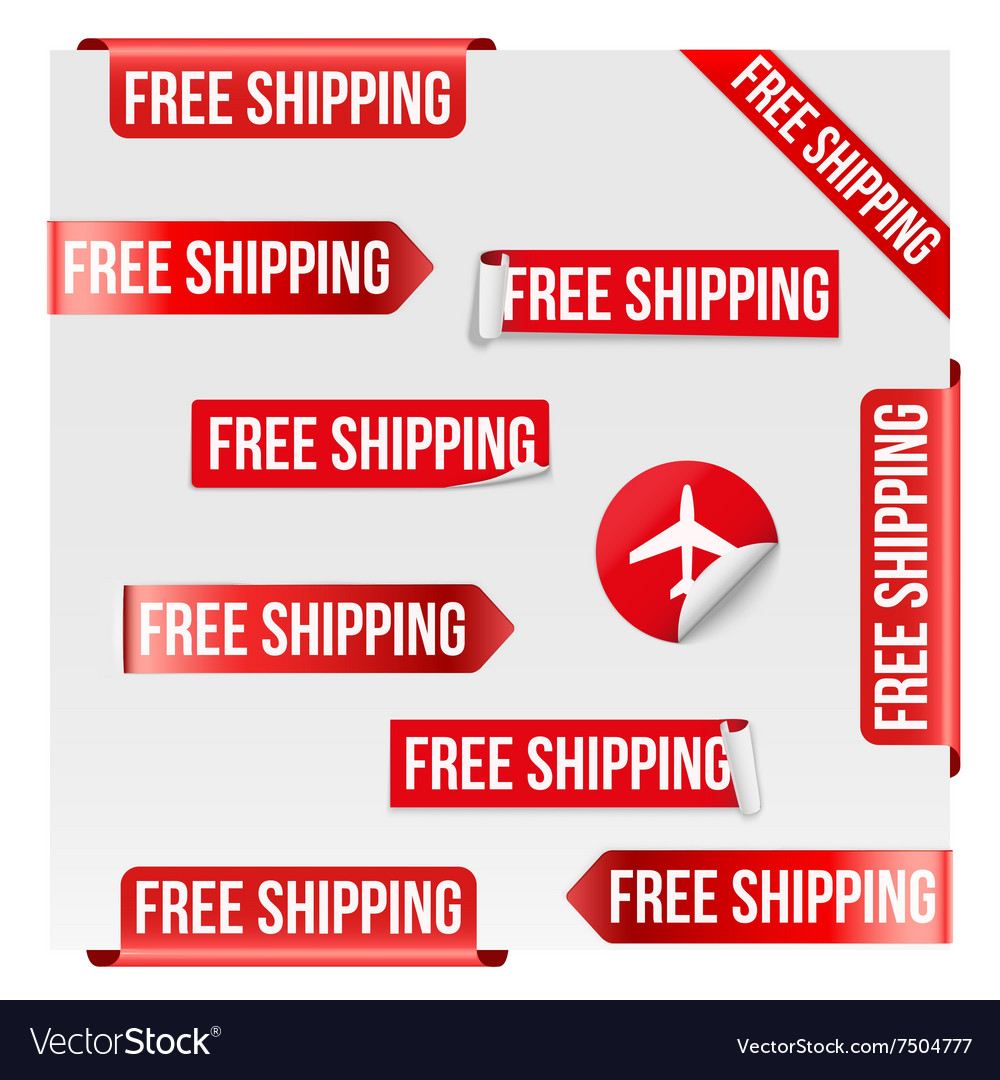 Free shipping red label design vector