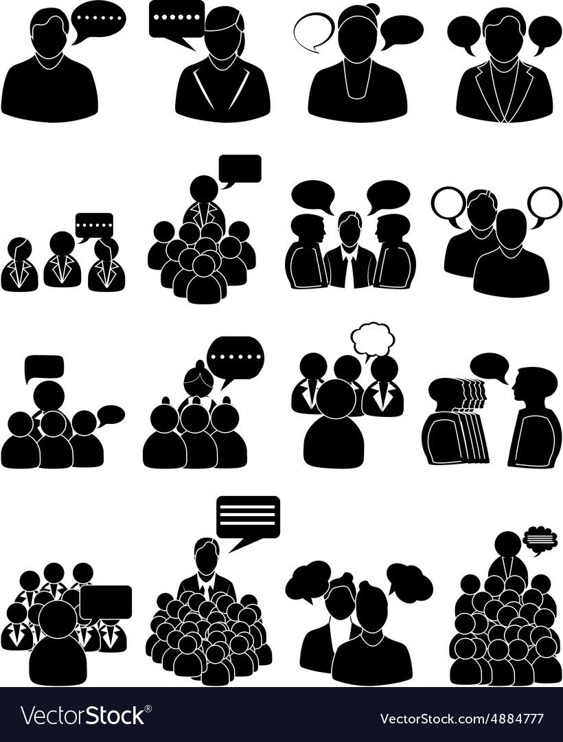 People talking icons set vector