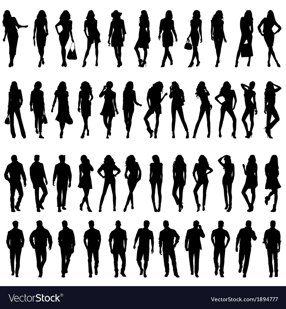 Silhouettes of happy young women and men vector