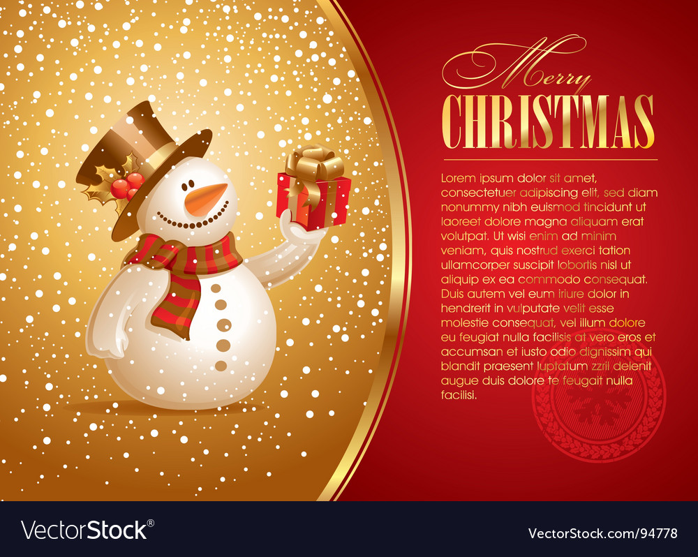 Christmas with smiling snowman vector