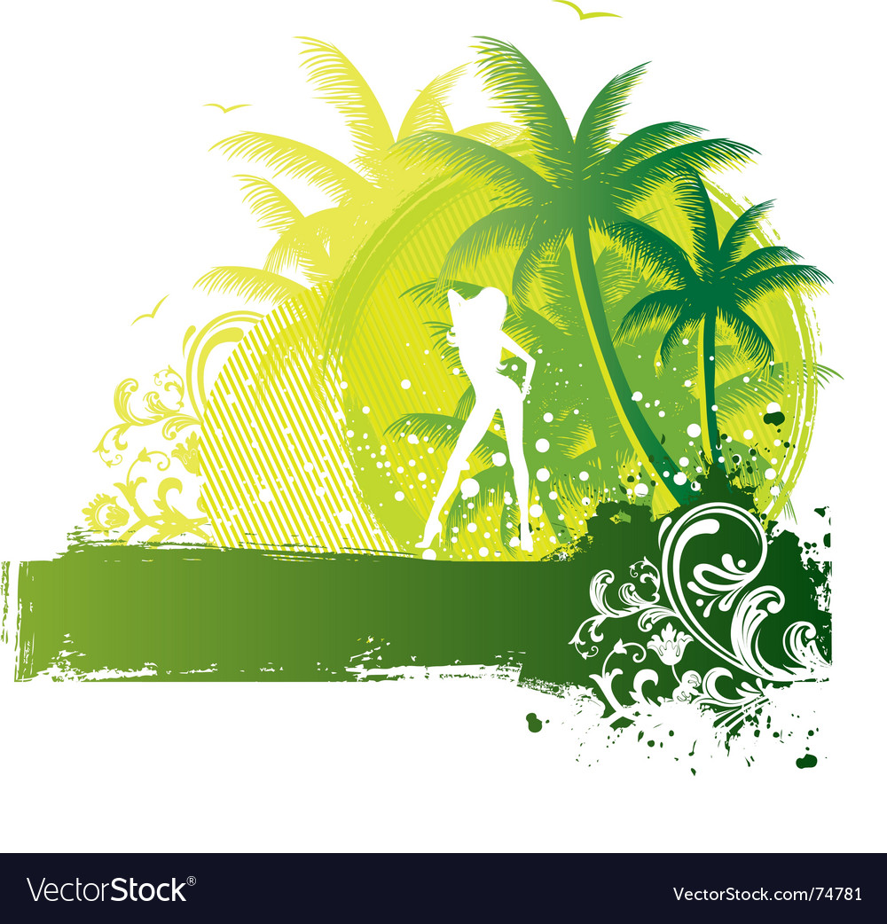 Palm girl vector