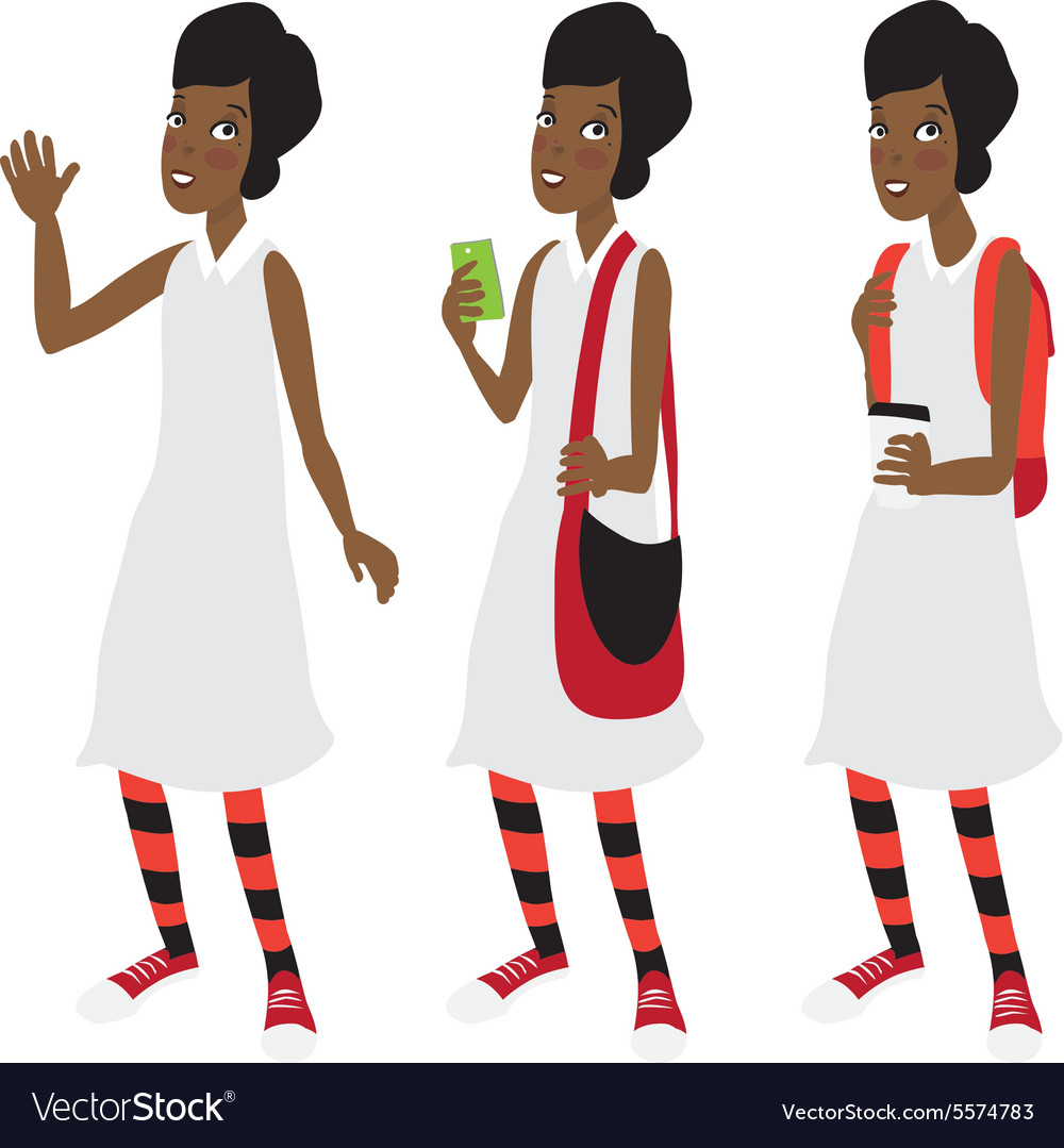 Afro american student girl with a short hair vector