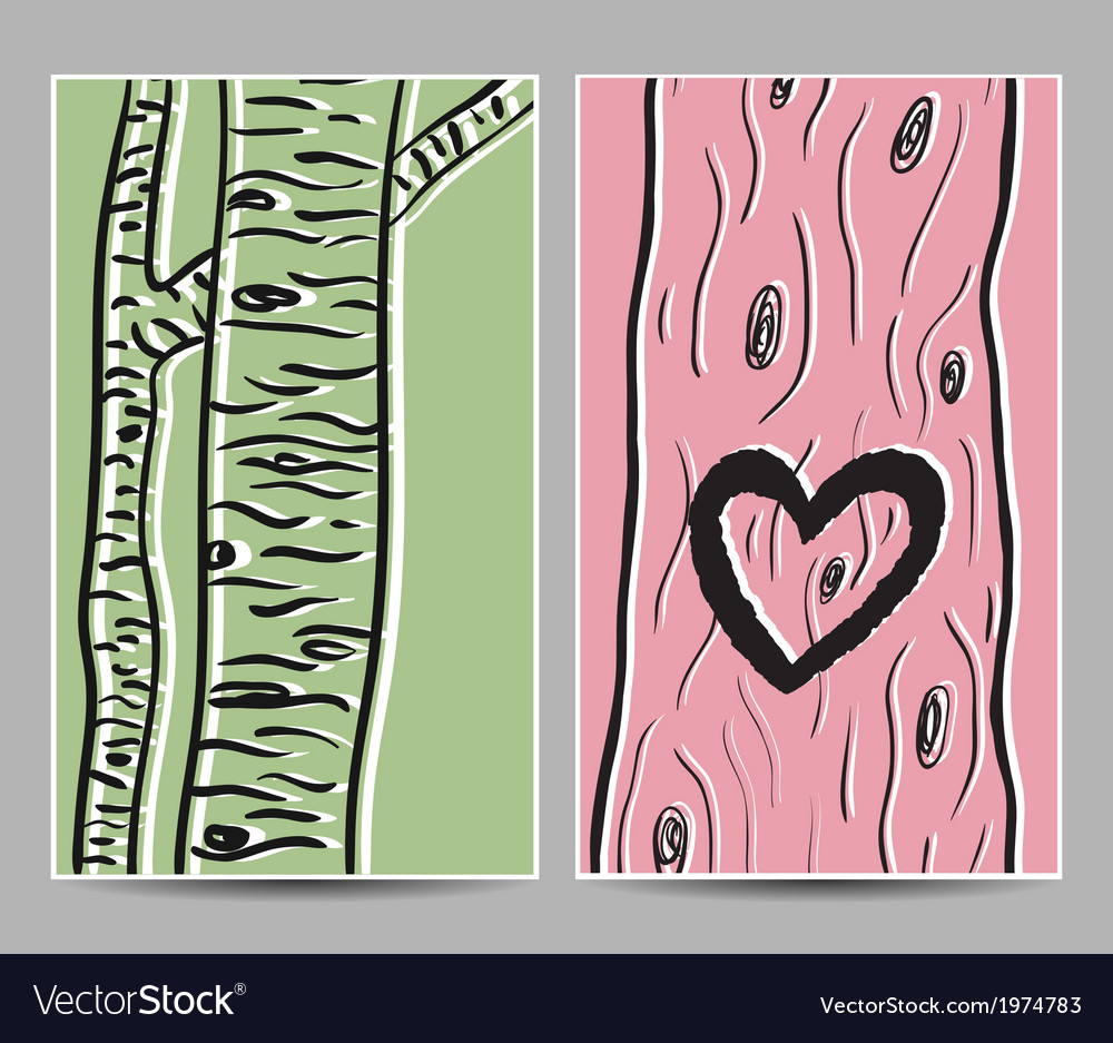 Card birch heart tree vector