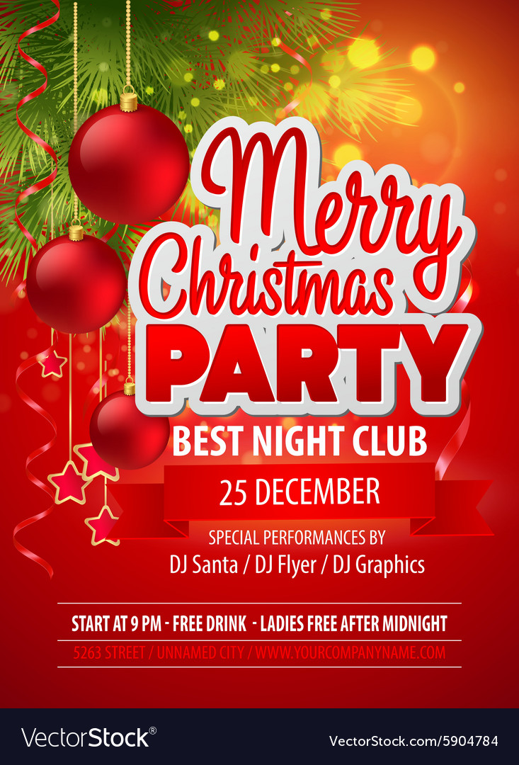 Christmas party flyer template vector