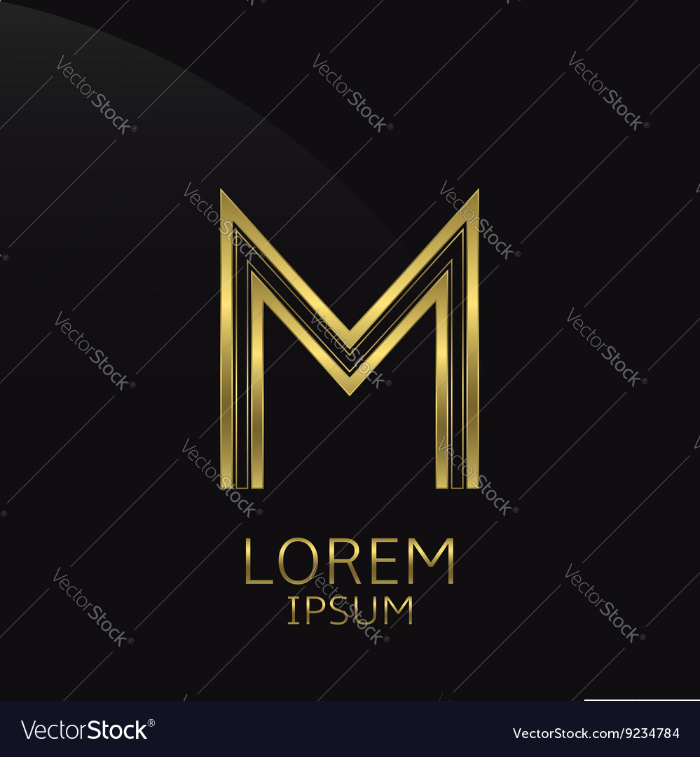 Golden m letter vector