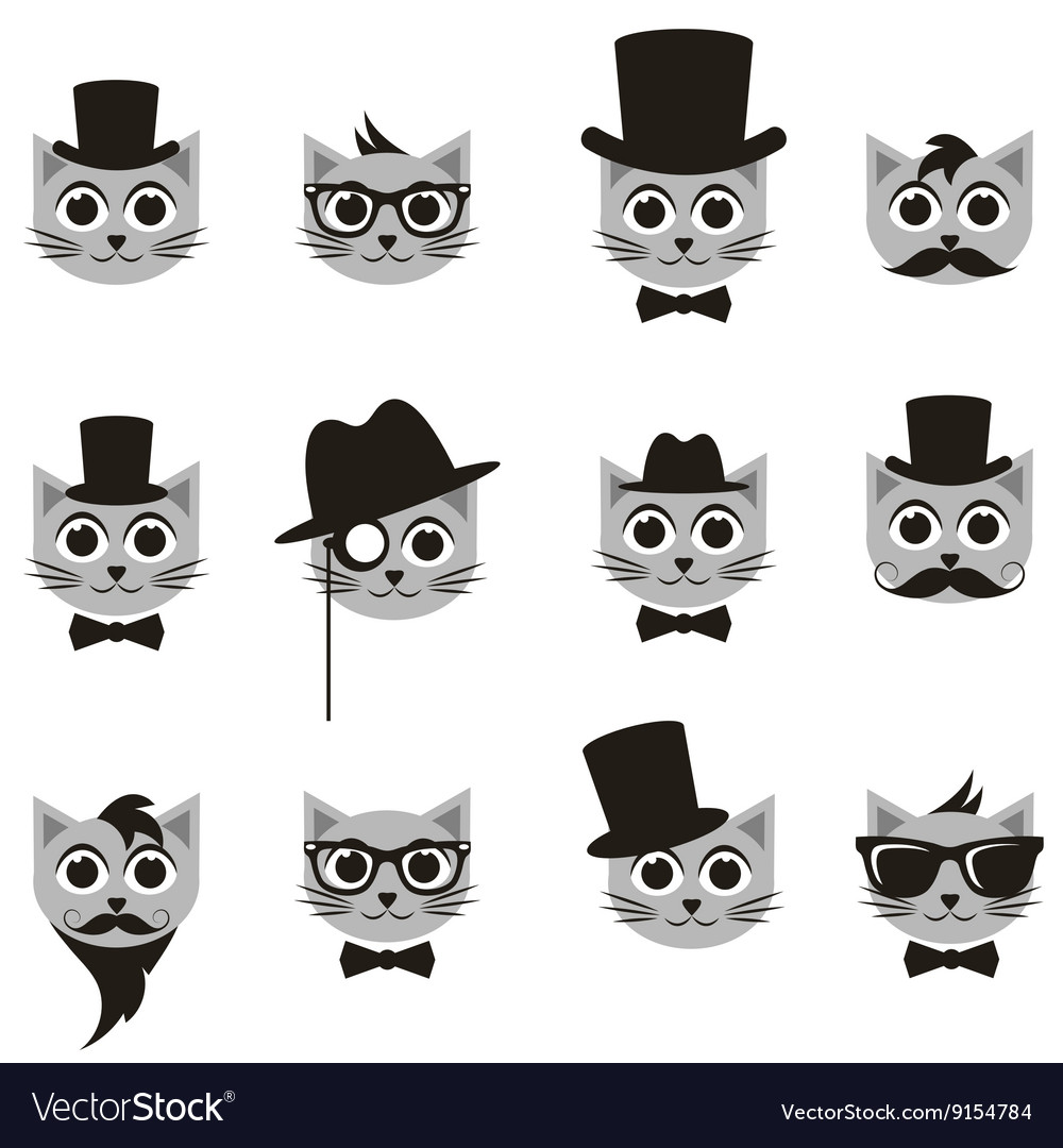 Retro gentleman and hipster cat icons set vector