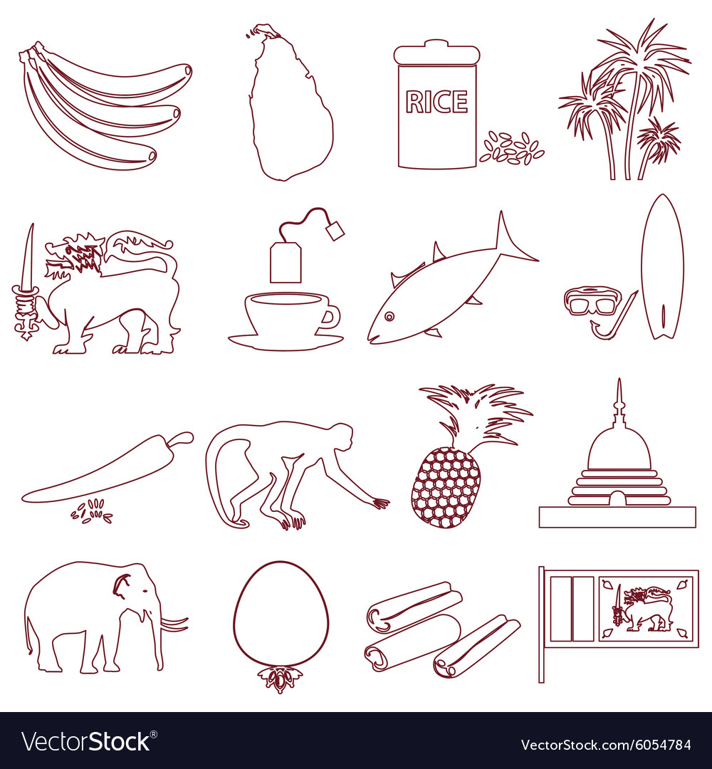 Srilanka country symbols outline icons set eps10 vector