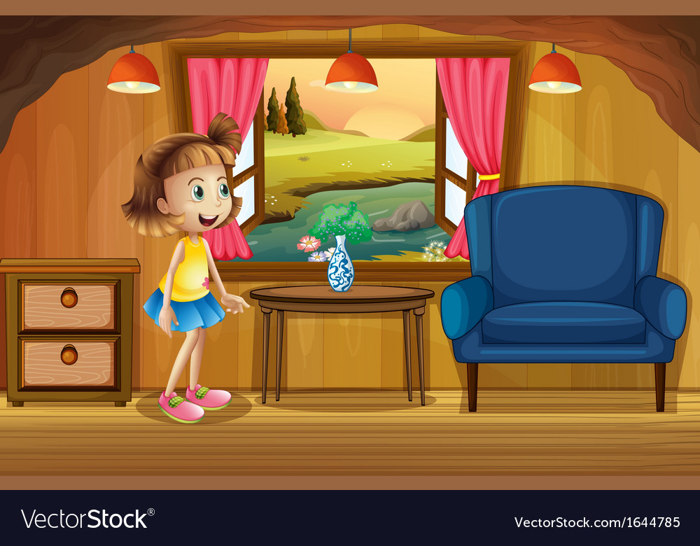 A cute young girl in a tree house vector