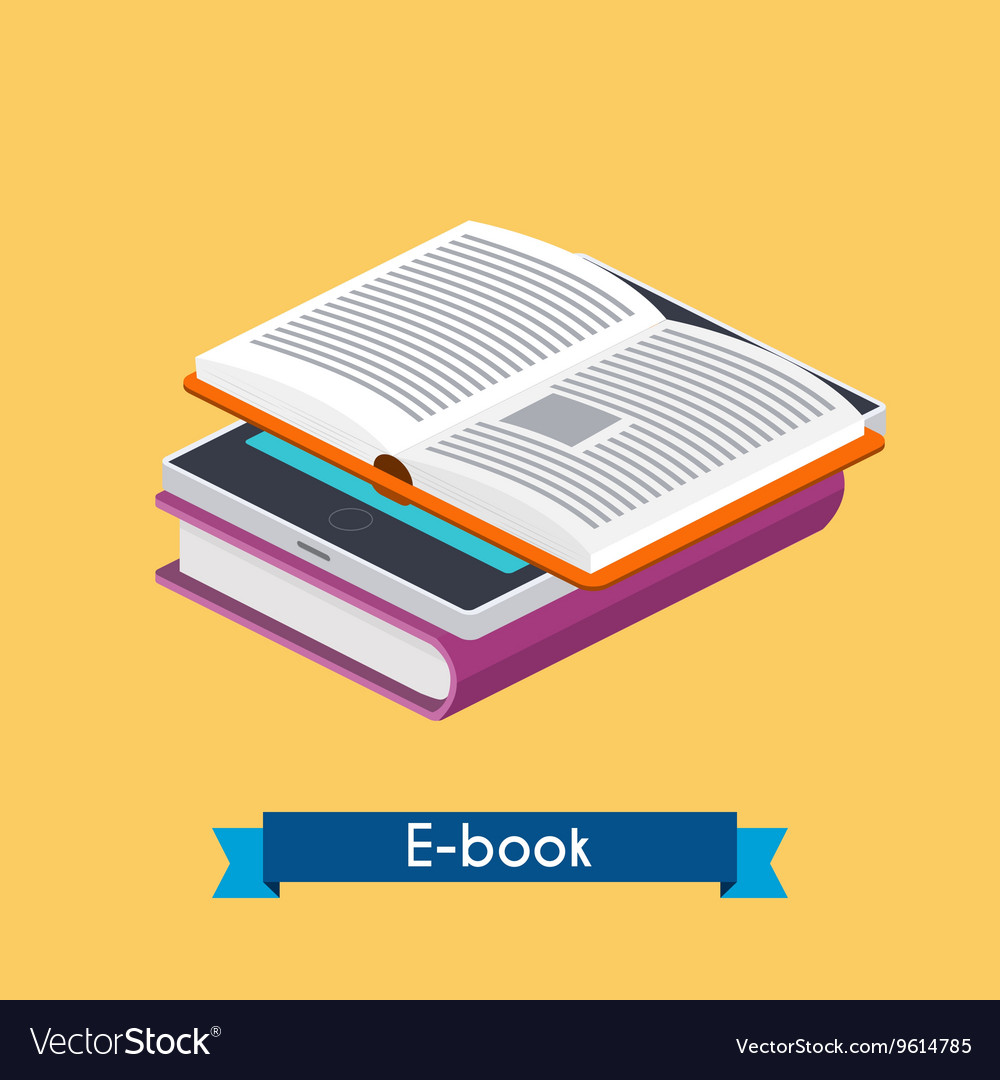 Flat 3d isometric ebook reader and books online vector