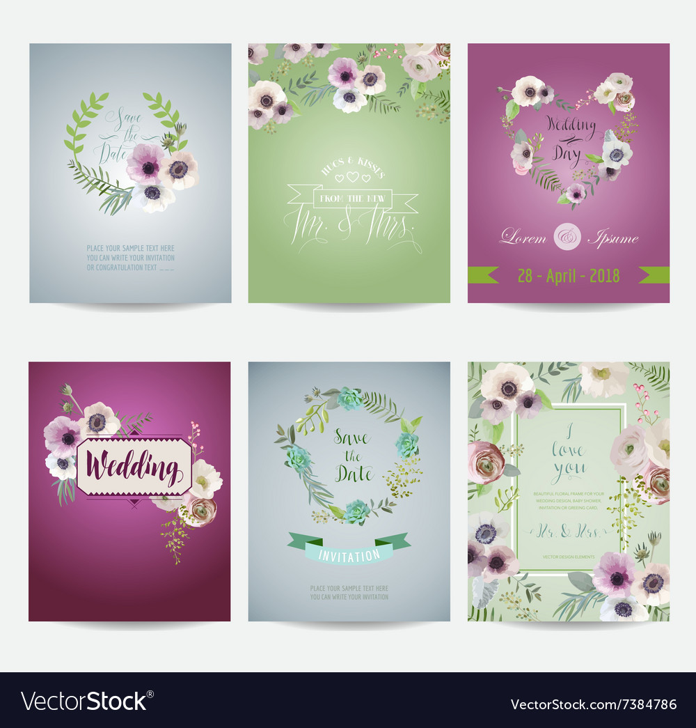Vintage flowers card set  for wedding birthday vector