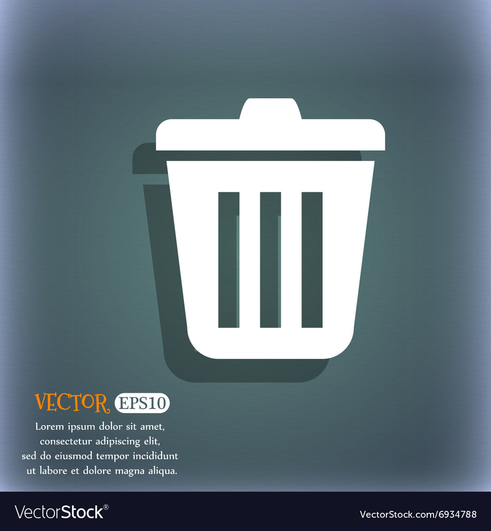 Bin icon on the bluegreen abstract background vector