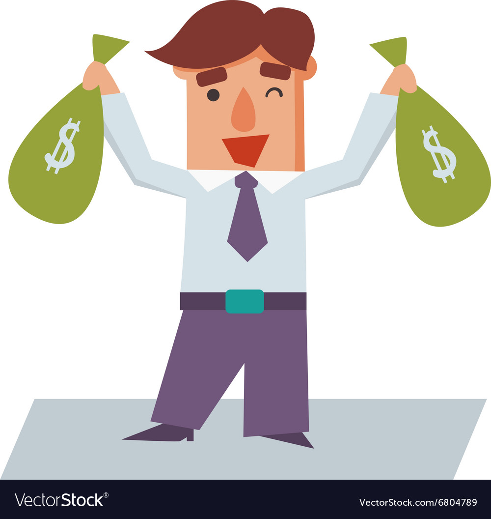 Business man with bags of money cartoon character vector