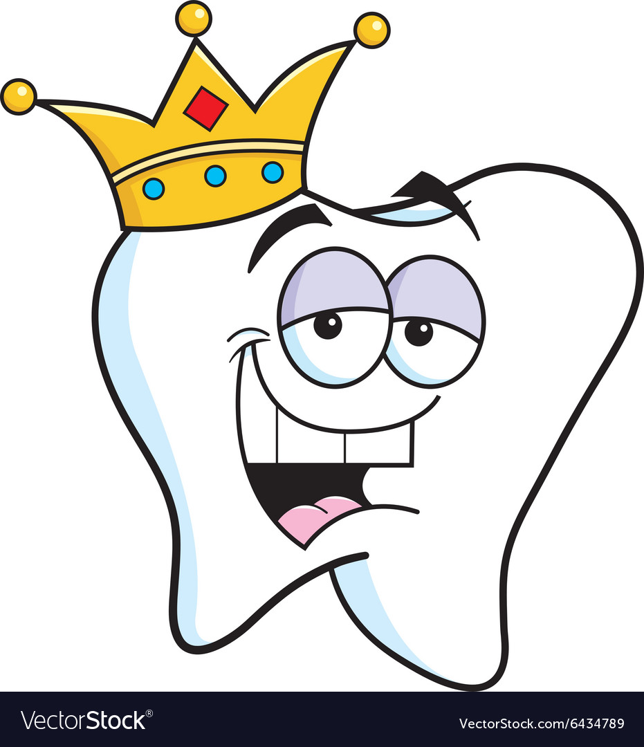 Cartoon tooth wearing a crown vector