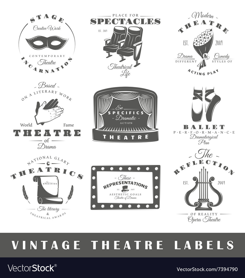Set of vintage theatre labels vector