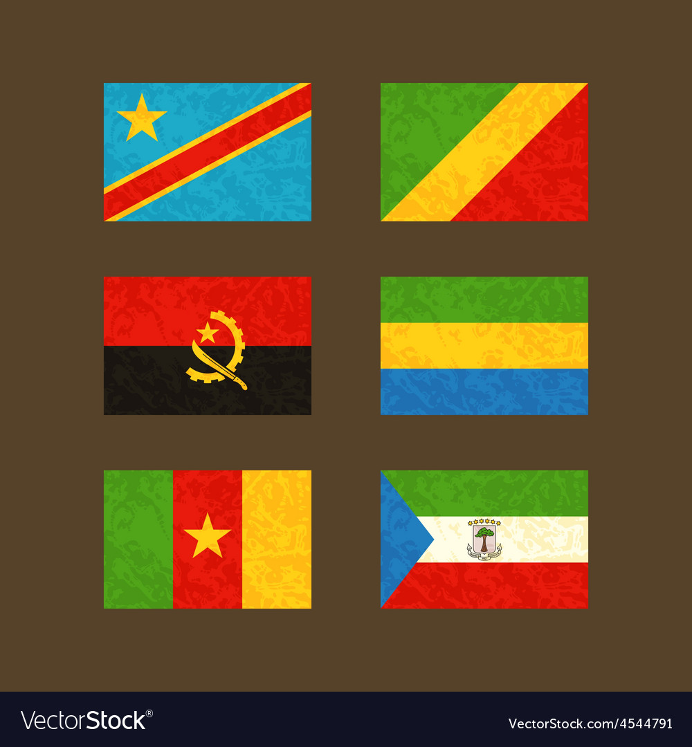 Flags of congo angola cameroon gabon vector