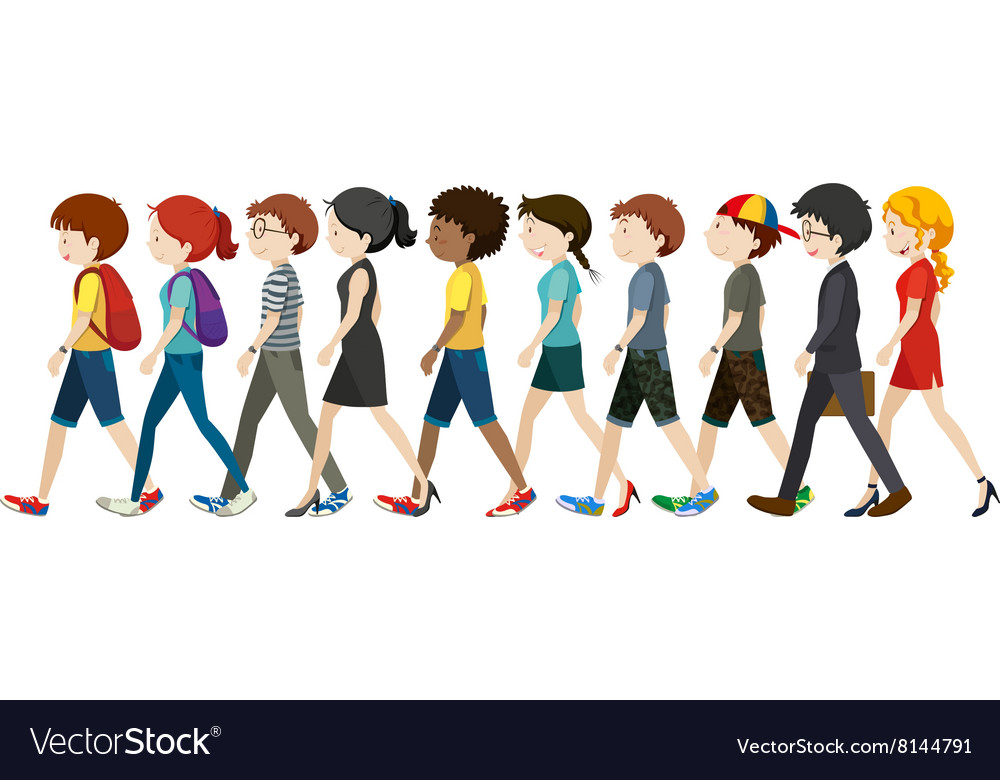 Men and women walking vector