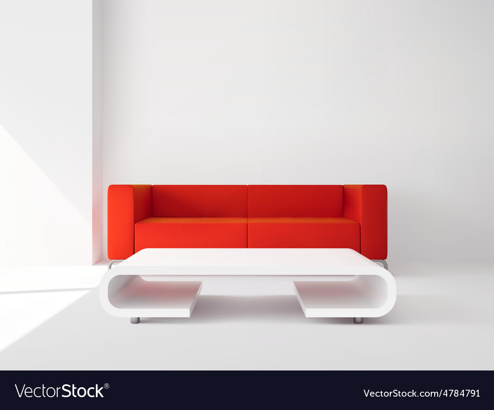 Red sofa and white table interior vector