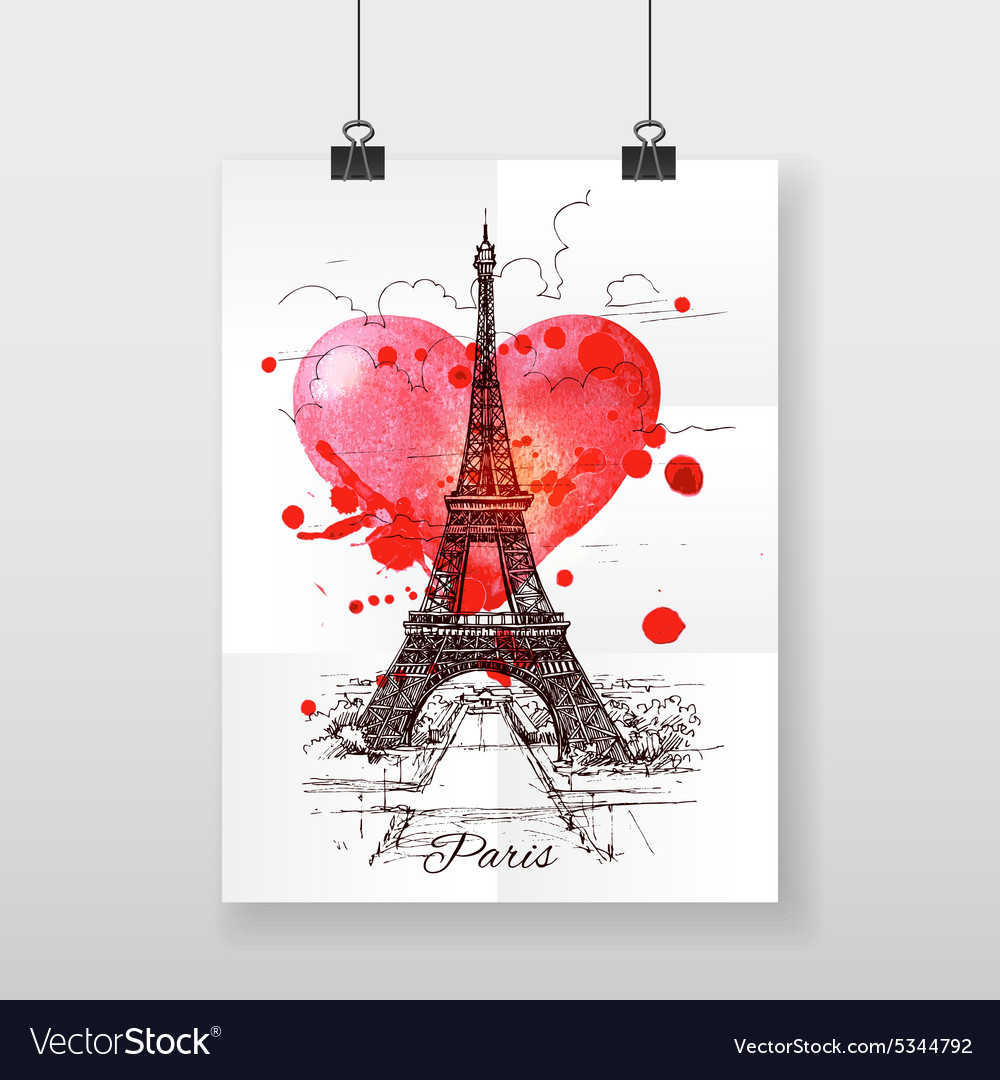 Beautiful handdraw poster paris and watercolor vector