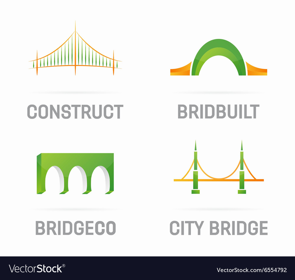 Set of bridge logo design elements vector