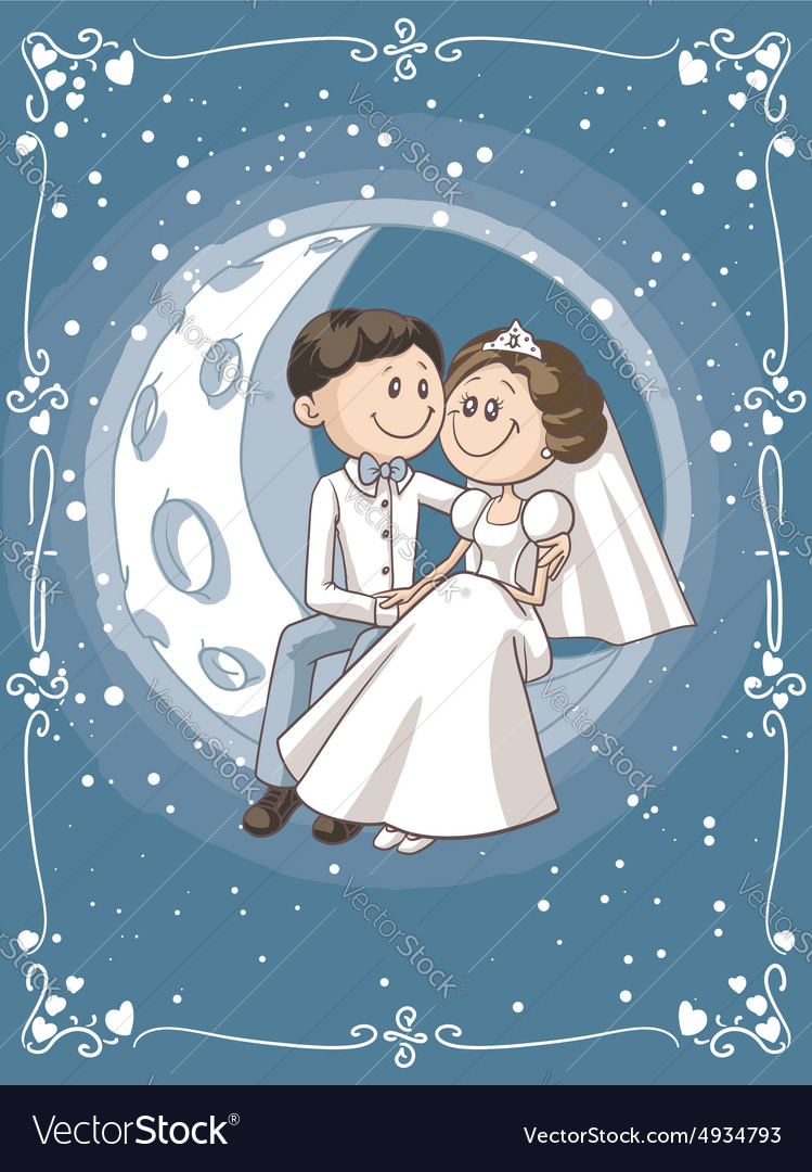 Bride and groom sitting on the moon cartoon vector