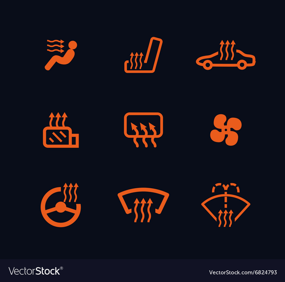 Collection of orange car heating dashboard vector