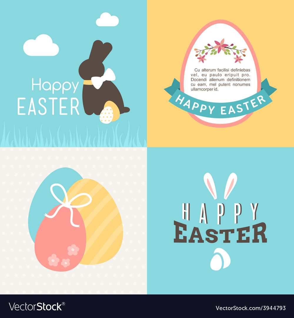 Happy easter greeting card design wi vector