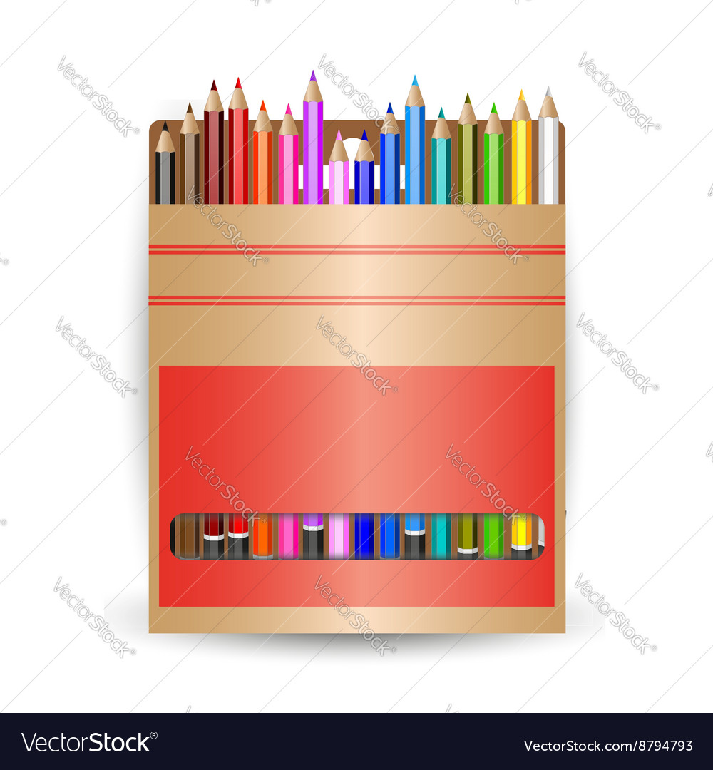 Packing pencils a set of colored pencils vector